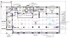 the AutoCAD drawing of corporation building floor plan that shows cut out for basement above, staircase, lift, offices, kitchen and multipurpose hall includes ceiling-mounted projectors and sound equipment with a column layout plan design. download commercial multipurpose hall design DWG file. Auditorium Plan, Auditorium Seating, Theater Plan, Multipurpose Hall, Hall Flooring, Hall Design, Projectors, Autocad, Second Floor