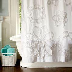 Ruffle Flower Shower Curtain - eclectic - shower curtains - - by PBteen Pretty Shower Curtains, Shower Curtain With Valance, Ruffle Shower Curtains, Flower Shower Curtain, Bathroom Shower Curtains, Window Curtains, Teen Bathrooms, Bath Decor, Product Design