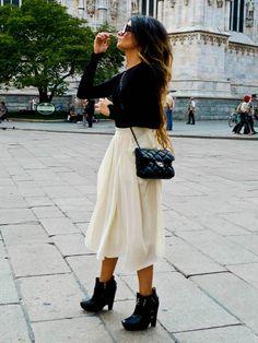 zara pullover, h skirt, sam edelman boots, chanel bag.