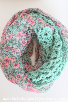 Infinity Scarf - tutorial for the crocheted piece then sew it to a chiffon scarf!  Brilliant!!