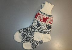 NEW Wool hand-made socks with cat pattern Dark Blue Color, Gray Color, Cat Pattern, Red And Grey, Leg Warmers, Socks, Wool, How To Wear, Handmade