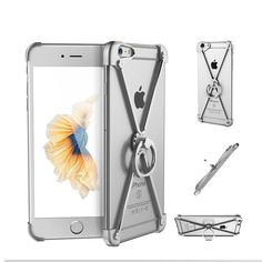 Bumper For iphone 6 6s plus case Luxury fashion cool metal aviation Aluminum frame phone cases personality with ring holder