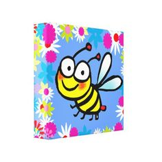 #cute colorful spring summer cartoon bee canvas print - #giftideas for #kids #babies #children #gifts #giftidea