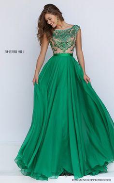 Flowing Chiffon Skirt Sherri Hill 11332 Emerald Prom Dress