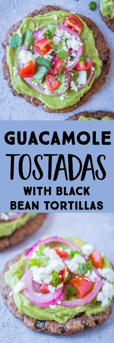 These Guacamole Tostadas are made with a delicious and flavorful homemade black bean tortilla that is so easy to make! They're filling but also light and refreshing. Perfect for a healthy vegetarian dinner or lunch. #guacamole #tostadas #cleaneating #healthylunch Tostada Recipes, Lunch Recipes, Healthy Dinner Recipes, Mexican Food Recipes, Vegetarian Recipes, Cooking Recipes, Mexican Dishes, Pie Recipes, Easy Recipes