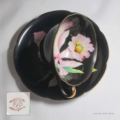 Made in Japan HAND PAINTED Pink Orchid on Black - Bone China Tea Cup and Saucer