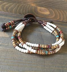 Seed Bead Leather Bracelet Native American Style / Buffalo Wrap Bracelet for Women . Seed Bead Leather Bracelet Native American Style / Buffalo Wrap Bracelet for Women … – Seed Bea Leather Necklace, Leather Jewelry, Boho Jewelry, Beaded Jewelry, Handmade Jewelry, Jewelry Design, Jewellery Box, Handmade Leather, Handmade Bracelets