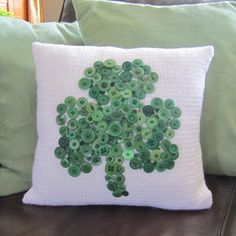 Button shamrock pillow