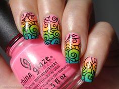 nailzcraze.blogspot.com Neon Rainbow Gradient and Swirly Stamping
