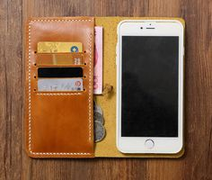 Handmade light brown genuine leather iPhone 6 6s wallet phone case/ leather…