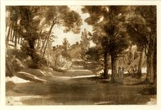 Wooded view; a track with trees on either side, leading towards a small hill in the distance, two figures at r. 1635-40 Brush drawing in brown wash, over graphite Claude Lorraine
