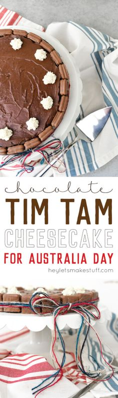 Chocolate Tim Tam Cheesecake is the perfect treat for Australia Day! This cheesecake is ringed with Tim Tams and topped with whipped cream.