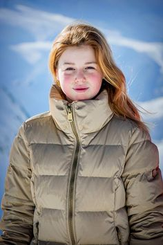 Dutch Princess Alexia opted for a tan padded ski jacket posed for photographers on the slopes, during their annual winter ski holiday in Lech, Austria