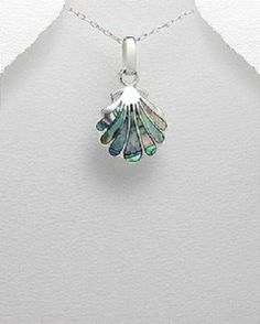 STERLING SILVER COLORS OF HAWAII MOTHER OF PEARL BEACH SHELL PENDANT  NECKLACE