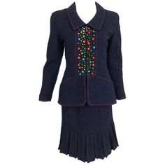 2af12a26ada Chanel Skirt Suit - Navy Appliqued Fitted Short Pleated Skirt 1997A.