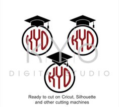 Graduation SVG cut files, Class of 2017 SVG, Circle Monogram svg, Graduation Cap svg, Mortarboard svg, files for Cricut and Silhouette #svg by kYoDigitalStudio on Etsy