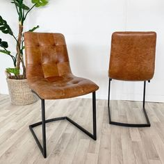 Standford Brown Leather Dining Chairs (pair) Luxury contemporary dining chairs, modern dining chairs for any style of dining furniture Free UK Delivery! Retro Dining Chairs, Fabric Dining Chairs, Leather Dining Chairs, Contemporary Dining Chairs, Upholstered Dining Chairs, Dining Furniture, Furniture Making, Wooden Bedside Table, Reclaimed Wood Dining Table