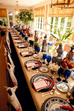 Great blue and white table....Scott Snyder