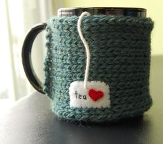 Personalized Tea Mug Cozy  Customize this Coffee Cup by KnitStorm, $17.00