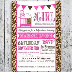 Leopard Print Safari Baby Shower Invitations by BigDayInvitations, $12.49