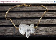 Autumn SALE 10 off 3 pieces natural Clear Rock by poppybutton
