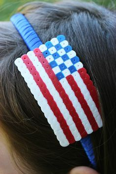 4th of July Perler Bead Headband- by Artzy Creations 6