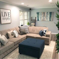 Modern & Contemporary Living Room Design with a modern farmhouse decor and modern farmhouse decorating. This farmhouse living room or farmhouse family room is beautiful. My Living Room, Living Room Furniture, Living Room Ideas Tan Couch, Tan Couch Decor, Grey Living Room Ideas Color Schemes, Beige Couch, Living Area, Furniture Sets, Modern Furniture