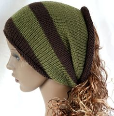 knitted tube ski hat neck warmer dreads brown and by slouchiehats, $14.00
