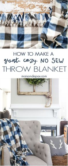 diy NO SEW throw blanket: how to make a gorgeous cozy throw for. Informations About How to Make a Diy Throw Blankets, Diy Throws, Diy Pillows, Fabric Crafts, Sewing Crafts, Sewing Tips, Sewing Hacks, Sewing Tutorials, Dress Tutorials