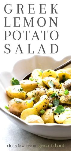 This Greek Lemon Potato Salad bursts with sunny Mediterranean flavors, and is a healthier no-mayo alternative to classic potato salad. #easy #healthy #recipe #Mediterranean #lemon #oregano #nomayo #classic #best