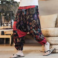 Freely Mens Retro Style Solid Plus Size Leisure Linen Pockets Harem Pants