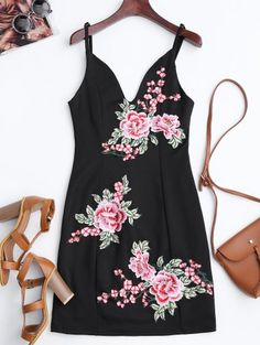 SHARE & Get it FREE | Floral Embroidered Mini Bodycon Dress - BlackFor Fashion Lovers only:80,000+ Items • New Arrivals Daily Join Zaful: Get YOUR $50 NOW!