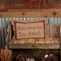 """Lend some cozy warmth to your fall decor with the Landon Welcome to Our Patch Pillow. For country and rustic homes alike this decorative pillow displays whimsy lettering stenciled in black on natural burlap complete with a fringed edge to give that """"scarecrow in the patch"""" feel. Finished with a windowpane pattern ruffled edge for a touch of timeless detail. Add this throw pillow to your living room furniture or place it on an old rocking chair with a comfy throw to invite a little extra… Rustic Fall Decor, Country Decor, Country Fall, Old Rocking Chairs, Country Style Curtains, Fox Decor, Machine Wash Pillows, Letter Stencils, Red Barns"""