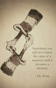 Sometimes you never know the value of a moment until it becomes a memory.  ~ Dr. Seuss