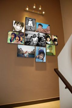 Stairwells and staircase landings can be tricky places to decorate.  Love this grouping....