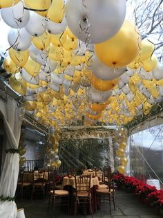 What do you do when you have a tent in your backyard and want to make it look really festive? You bring in the balloons! Happy New Year!! #RINY #balloons, #balloondecorating, #lotparty.com,