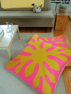 Hawaiian applique-inspired floor pillows sewn from wool felt from the purl bee.