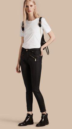 Black Skinny Fit High-rise Coated Stretch Denim Jeans 1