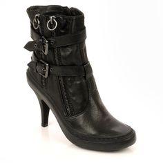 Ash Penny Zip & Buckle Black Leather Heeled Boot