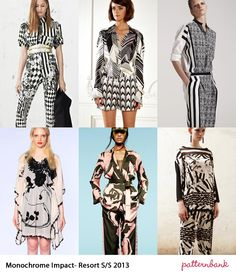 Monochrome Impact-Resort S/S 2013-Stark Contrasting Patterns – Optical Plays – Floral mixed with Geometric Prints – Structure and linear form visuals – High contrast statements – Chevron and Stripe Abstract Prints