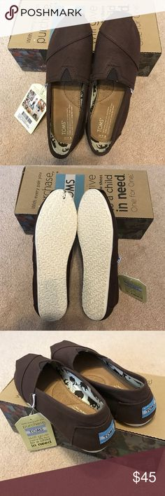 Toms classic chocolate canvas size 7.5 Brand new never used with tag and box! Toms classic chocolate canvas flats in size 7.5 TOMS Shoes Flats & Loafers