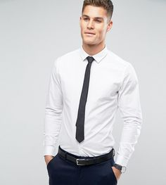 Find the best selection of ASOS DESIGN stretch skinny wedding shirt in white with black wedding tie save. Shop today with free delivery and returns (Ts&Cs apply) with ASOS! White Shirt Black Tie, White Shirts, Black Skinnies, Black Pants, Formal Dresses For Men, Formal Outfits, White Shirt Outfits, Wedding Shirts, Skinny Ties