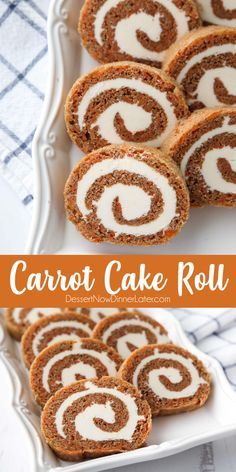 desert life This Carrot Cake Roll is a classic Easter dessert with a twist. Spiced carrot cake is rolled up with the BEST cream cheese frosting inside. Its beautiful, delicious, and easy t Carrot Cake Roll Recipe, Carrot Spice Cake, Cake Roll Recipes, Carrot Cakes, Kid Desserts, Brunch, Cupcakes, Savoury Cake, Easter Recipes