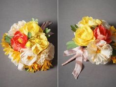 For a rehearsal bouquet, or a throw bouquet: Vibrant citrus paper bridal bouquet by BHLDN.