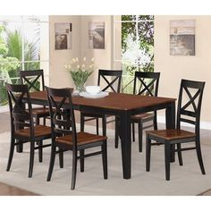 East West Furniture QUIN Quincy Rectangular Table Dining Set with X-Back Wood Seat Chairs  Quincy Rectangular Table Dining Set with X-Back Wood Seat Cha…