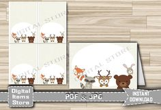 Food Tent Labels Cards Woodland Animals  by DigitalitemsShop