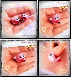Kirby earrings charm chibi in polymer clay