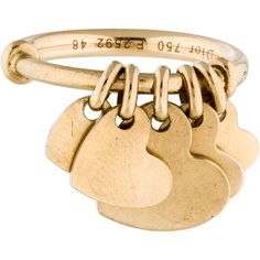 Pre-owned Christian Dior 18K Heart Charm Ring ($995) found on Polyvore featuring women's fashion, jewelry, rings, gold heart ring, band rings, gold ring, graduation charms and yellow gold band ring