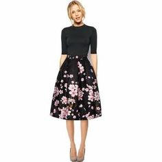 High Waist Elegant Black with Pink Florals Pleated Women A-Line Skirt designed by FEITONG.