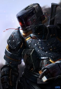 A scrapbook of cyberpunk visions to get you dreaming about the future to come. Character Concept, Character Art, Sci Fi Armor, Future Soldier, Armor Concept, Sci Fi Characters, Cyberpunk Art, Futuristic Design, Conceptual Art
